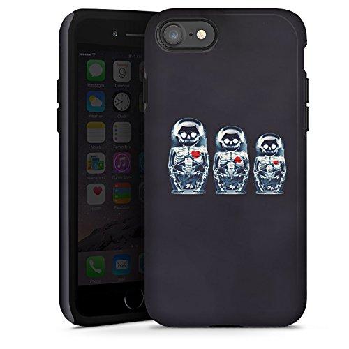 Apple iPhone X Silikon Hülle Case Schutzhülle Bones Skull Totenkopf Tough Case glänzend