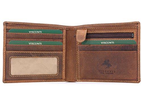 Visconti - Geldbörse - Leder - Jägerstil - (707) - GRÖßE: B: 10.5 H: 9 T: 2 cm Öl Hellbraun