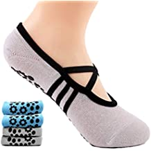 Supstar Calcetines Pilates Yoga Antideslizantes Traspirable Mujer para Barra Ballet Danza (2 Par) (
