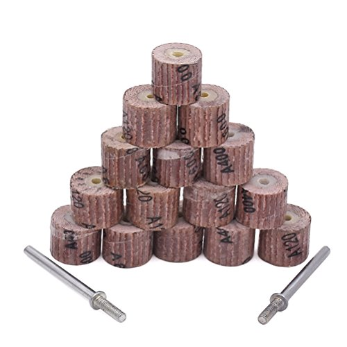 Fächerschleifer - GOXAWEE 50Stk Schleifpapier Schleifen Lamellenschleifer Rad Bürste Polieren Werkzeug Zubehör für Rotationswerkzeuge mit 5 Stücke 3mm Schaft / Körnung 80# 120# 240# 400# 600#