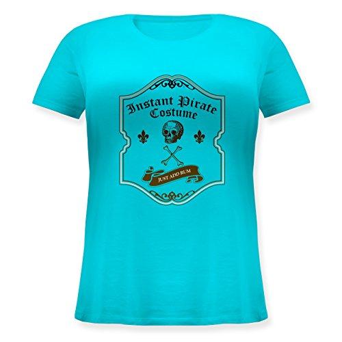 Piraten & Totenkopf - Instant Pirate Costume - Just add Rum - M (46) - Türkis - JHK601 - Lockeres Damen-Shirt in großen Größen mit Rundhalsausschnitt (Plus Size Pirate Shirt)