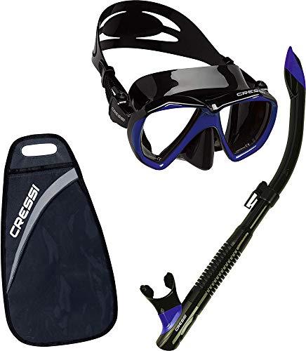 Cressi Ranger & Tao Semi-Dry - Combo Set Máscara y Snorkel, Unisex, Negro/Azul Oscuro