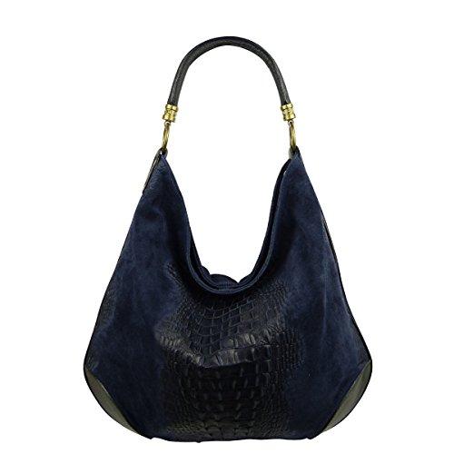 Damen Leder Tasche Henkeltasche Schultertasche mit Kroko Schlangen oder Blumen Prägung Blau-Kroko