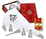 KITCHTIC ® Premium Spritzbeutel Set - Spülmaschinenfester Spritzsack aus Baumwolle mit Geschenks Box, 6 Edelstahl Spritztülle