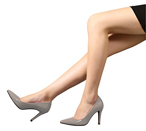 Guoar Übergröße High Heels Büro-Damen Glitzernd Pumps Lackleder Spitze Zehen Geschlossene Toe Stiletto Grau