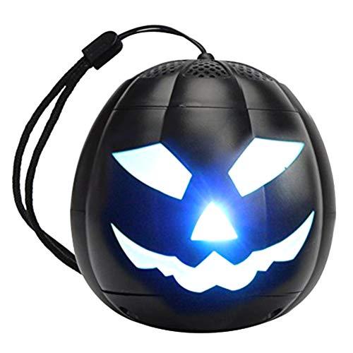 Mobestech Kreative Halloween Kürbis Bluetooth Lautsprecher Tragbare Drahtlose Bluetooth Lautsprecher mit LED-Licht für Zuhause Innendekoration (Schwarz)