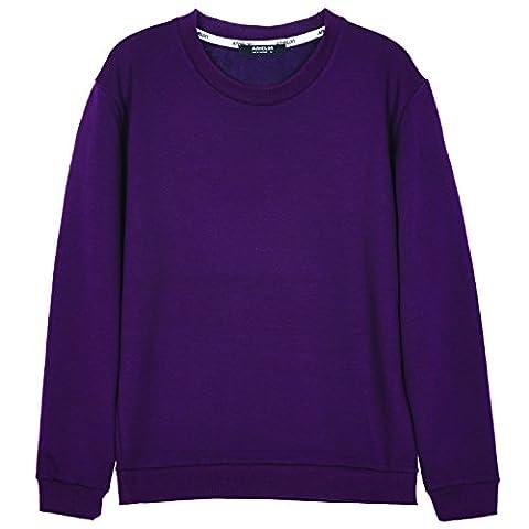 ililily Men Cotton Solid Color Simple Crew Neck Spring Pullover Sweatshirt Top , Dark Plum, US-L