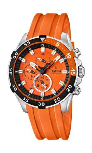 Festina Men's Quartz Watch with Orange Dial Chronograph Display and Orange Plastic Or Pu Strap F16604/3