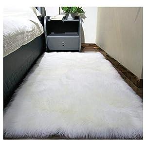JINXIULL Spitzenqualität Lammfellimitat Teppich 50 x 150 cm Lammfellimitat Teppich Longhair Fell Nachahmung Wolle Bettvorleger Sofa Matte (Weiß)