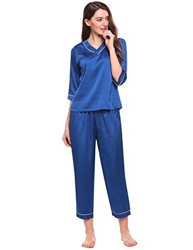Ekouaer Damen Schlafanzug Kurzarm Lang Hose Pyjama Classics Nachthemd und Hose Set in europäischen Größen Königsblau