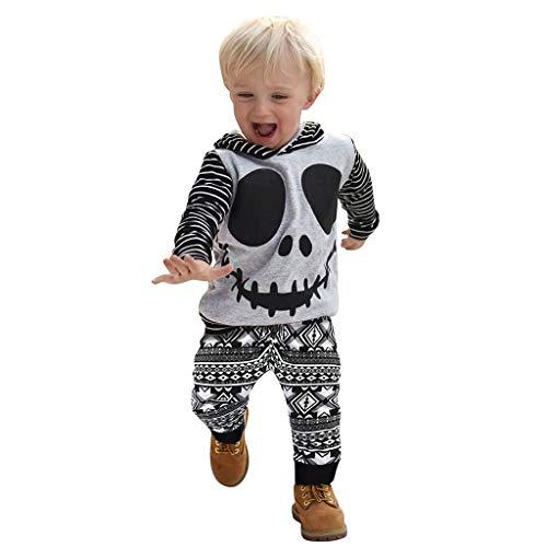 Tierkostüm Hollywood - Lazzboy Kleinkind-Baby-Halloween-Karikatur-Schädel u. Gestreifte Hoodie-Oberseiten + Geometrie-Hosen-Ausstattungen(Grau,Höhe:80)