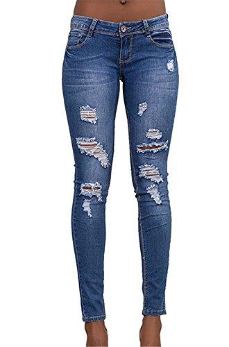 Dorekim ladies strappati elasticizzati jeans casual da spiaggia pantaloni #6008-l (large, 6007)