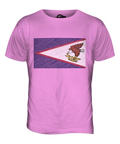 CandyMix Amerikanisch-Samoa Kritzelte Flagge Herren T Shirt Rosa