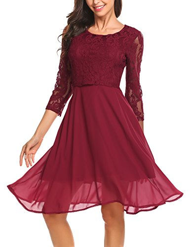 Finejo Damen Elegant Chiffonkleid Abendkleid Cocktailkleid 3/4 Arm mit Spitzen Ballkleid Party kleid...