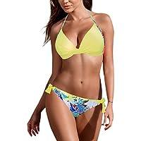 LILICAT!!! Correa Halter Correa Bikini con Estampado en Color Liso Bikini de Dos Piezas Sujetador Push-up Acolchado para Mujer Bikini Conjunto Traje de baño Traje de baño Ropa de baño Ropa de Playa