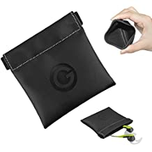 Geekria Soft Elastic PU Earbud Pouch Case / Headphone Carrying Bag / Universal Headphone Protection Pouch / Pocket Earphone Case / Coin Purse change Holder / Portable Travel Bag (Black)