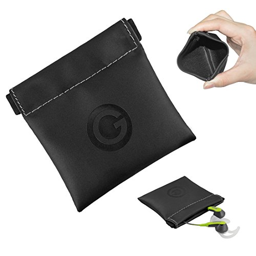Geekria Soft Elastic PU Earbud Pouch Case / Headphone Carrying Bag / Universal Headphone Protection Pouch / Pocket Earphone Case / Coin Purse change Holder / Portable Travel Bag (Black) (Travel-bag Voyager)