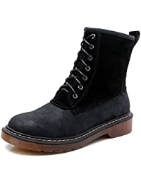 750cca4f4edf Smilun Lady s 7 Eye Derby Ankle Boot Suede and Smooth PU-Leather High-Top