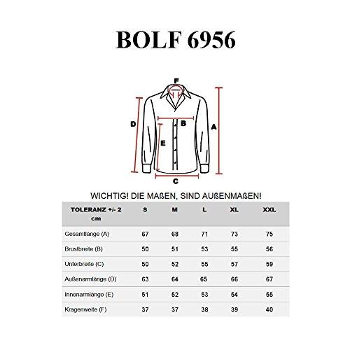 BOLF – Chemise casual – avec manches longues – Slim fit – Classique – Homme [2B2] Bleu foncé