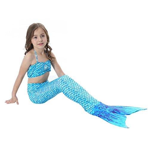 Mädchen Meerjungfrauen Bikini Tankini Kostüm Meerjungfrau 3-Teile-Set Schwimmanzug Badeanzüge