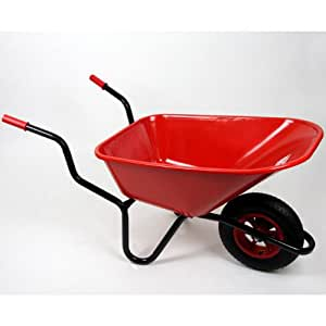 WorldStores Bronco Plastic Wheelbarrow with Stable Wheel 110 Litre, Red