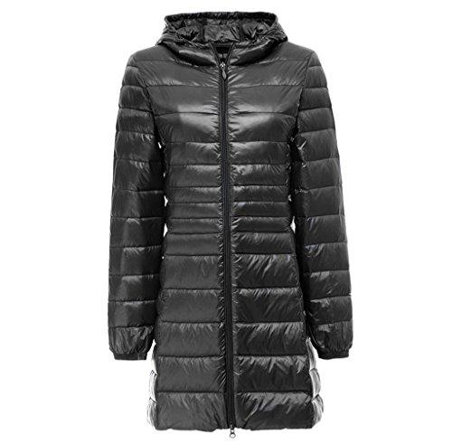 Topgraph Damen Daunenjacke Lang Leicht Kapuzen Gewicht Daunenmantel Down Coat Black
