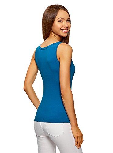 oodji Ultra Donna Canotta Basic Blu (7501N)