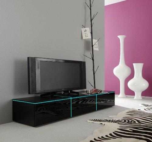 Dreams4Home Lowboard Square TV Schrank Phonomöbel weiß o schwarz hochglanz opt LED-RGB-Beleuchtung, Beleuchtung:mit Beleuchtung;Farbe:Schwarz