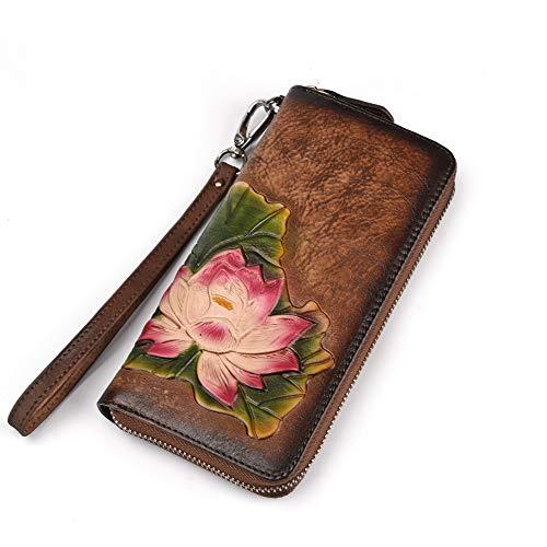 ORIREAL Damen Geldbörse Leder 3D Print Lotus Muster Kartenhalter Clutch Geldbörse - Braun - (Iphone Case 6 Prints Plus Mit)