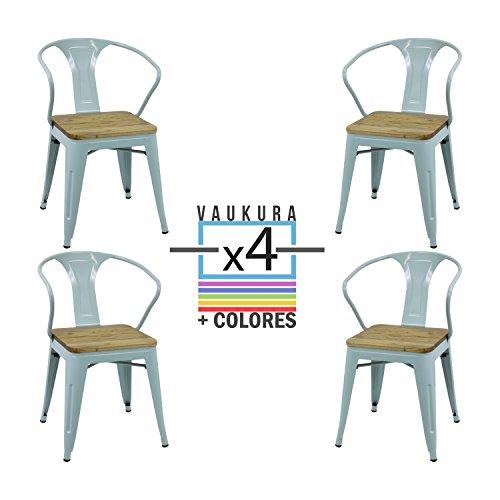 Vaukura Silla Tolix con Brazos (Pack4) - Silla Industrial Metálica Acabado Brillo Asiento de Madera (Azul)
