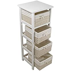 FRANDIS Meuble Palma-4 tiroirs, Structure Bois laqué, paniers Osier et Tissus, Coloris Blanc Dim Produit : 30 x 30 x 86 cm, 30 x 30 x 86,3 cm