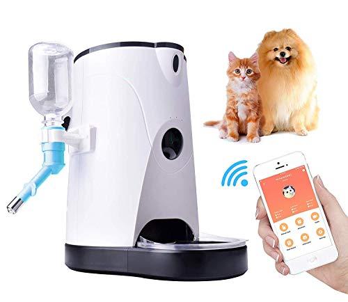 Dispensador Automático De Alimentos Con Alimentador Wifi Para Mascotas Con Cámara Para Perros Y Gatos, De 4 Litros Con Video En Tiempo Real, Grabación De Voz, Alimentación Con Tiempo, Blanco