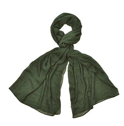 INTERMODA XXL Uni Schal unifarben transparent, leichtes Crinkle Tuch, Unisex, khaki oliv grün