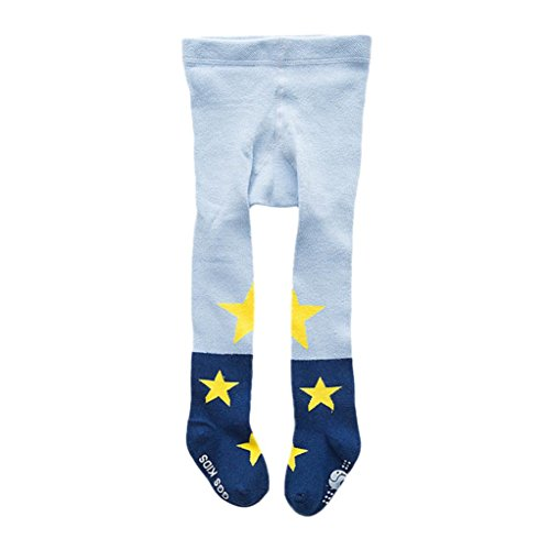 Hirolan Baumwolle Strumpfhose Strumpfhose Strumpf Star Füßig gemütlich Socken zum schön Neugeboren Baby Mädchen Kleinkind Kinder Blau Rosa Grün Farbe (M, Blau)