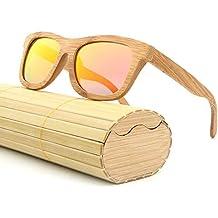 2f4943f7a1 AZB Gafas de Sol de Madera clásico, para Hombres y Mujeres con Frente Negro  Mate