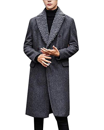 CuteRose Men's Double-Breasted Fit Wool Blended Classic Vogue Peacoat Grey L (Double Breasted Pea Coat Dress)