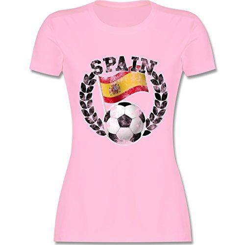 EM 2016 - Frankreich - Spain Flagge & Fußball Vintage - tailliertes Premium T-Shirt mit Rundhalsausschnitt für Damen Rosa