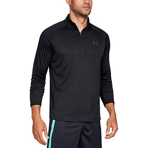Under armour, ua tech 1/2 zip 2.0, maglia a maniche lunghe, uomo, nero (nero/charcoal), m