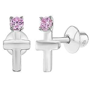 925 Sterling Silber Kreuz Ohrringe für kleine Mädchen mit Schraubverschluss rosa CZ