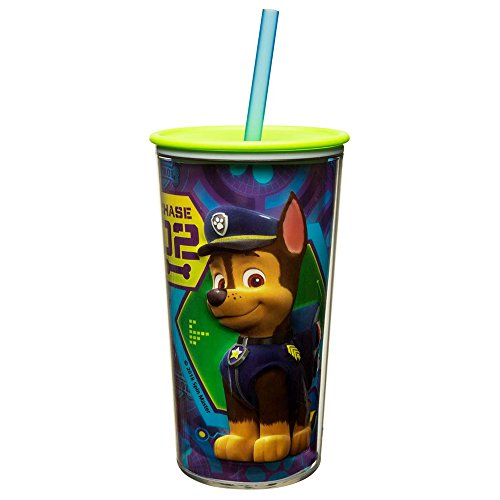 Zak Designs 10.5 oz Paw Patrol Boy Insulated Tumbler With Lid, Straw And Embossed Artwork - Makes Character Pop Out, Insulation Prevents Condensation, And Fits In Most Cup Holders, Paw Patrol Boy