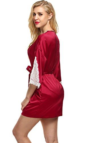 Ekouaer Frauen Sexy Satin Morgenmantel Damen Kurz Nachtwäsche Pyjama Bademantel Hohle Spitze V-Ausschnitt Kimono Schlafanzug Rot