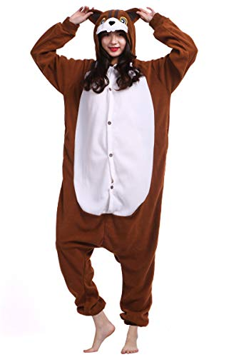 DATO Pyjama Tier Onesies Eichhörnchen Erwachsene Kigurumi Unisex Cospaly Nachtwäsche für Hohe 140-187CM