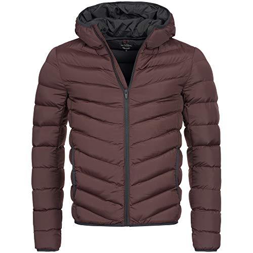 Brave Soul Herren Jacke Übergangsjacke Steppjacke Daunen Look Parka AZ82 S-XL 6-Farben, Größe:L, Farbe:Bordeaux