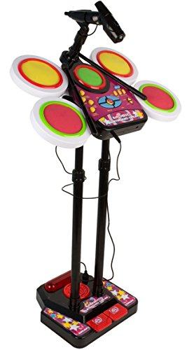 Kids Junior Electronic Drum Beat Set Musical Toy with Microphone & Lights