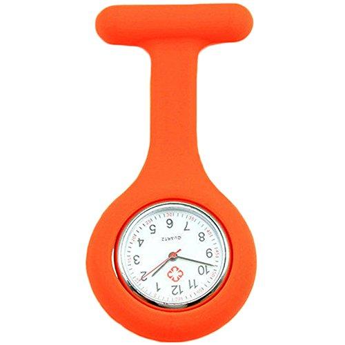 Sanwood Schwesternuhr zum Anstecken, Silikon, Uhr für Pflegepersonal Gr. One size, Orange Orange Checker