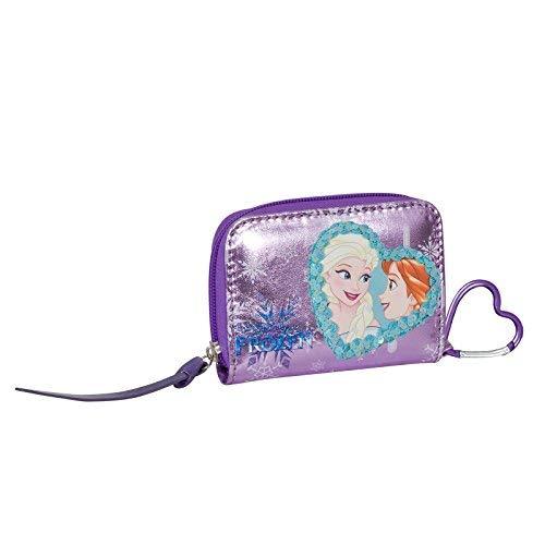 Disney frozen cuore magico - portafoglio da bambina con gancio - con chiusura a zip - colore viola