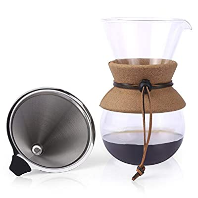 Apace Living Pour Over Coffee Maker - 2019 Edition - Elegant Coffee Dripper Brewer Pot w/Glass Carafe & Permanent Stainless Steel Filter