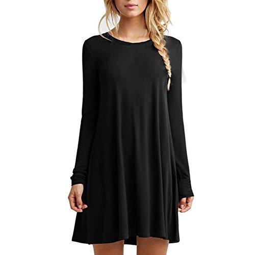HUAYIN Vestidos Casuales Cortos Verano, Vestidos Holgados De Talla Grande Mujer Camiseta Color SóLido con Cuello Redondo (Black-Long Sleeve, M)