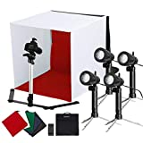 CRAPHY Estudio Fotografico Tienda 44cm Upgraded 50W LED Mini Foldable & Portable Caja de luz Kit con 5 Telón de Fondo