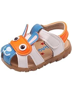 SHOBDW Kleinkind scherzt Baby-Jungen-Sommer-Schuhe mit blinkenden Lichter-Sandelholz-Karikatur-Schuhen